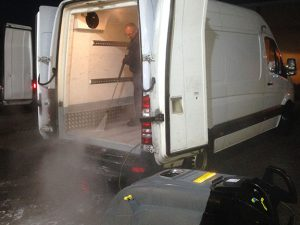 Food van undergoing daily disinfection
